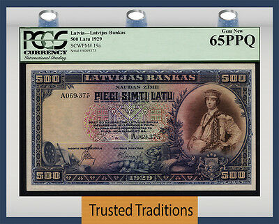 "TT PK 19a 1929 LATVIA 500 LATU ""PREFIX A"" PCGS 65 PPQ GEM NEW ONLY ONE FINER"