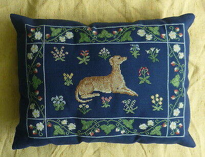 Super Hand Needlework Embroidered Cushion with Flowers and Greyhound  Dog Design