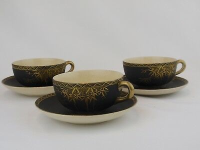 Japanese Satsuma Gold Bamboo on Matte Black Cups and Saucers Set of 3