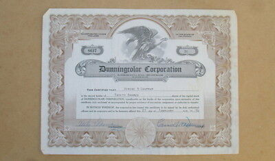 1954 Stock Certificate~Dunningcolor Corporation~Film Actors-Add Background