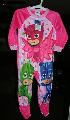 """PJ MASKS""  Girl's FLEECE BLANKET SLEEPER/1 PC.FOOTED  PAJAMAS SIZE 4T  NWT #4A"