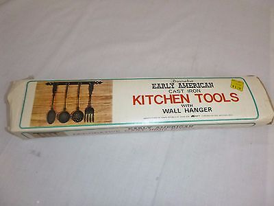 NOS Vtg Early American Style Cast Iron Kitchen Utensils w/ Rack KMart Never Used
