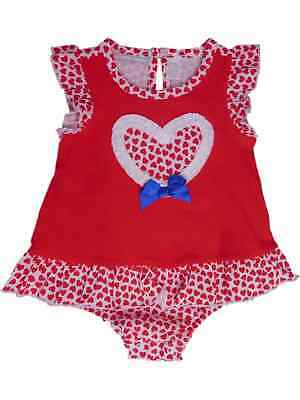 Infant Girls Red Heart Print Romper Ruffled Bodysuit Baby Outfit 0-3 Months