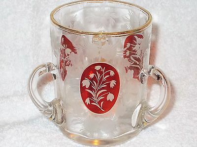 Stunning Antique Ruby & Clear Glass 3 Handle Loving Cup Beautiful Design!!