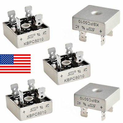 5PCS 50A 1000V Metal Case Single Phases Diode Bridge Rectifier KBPC5010 US STOCK