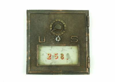 Antique Brass LARGE US POST OFFICE BOX DOOR Single Dial Combination Lock