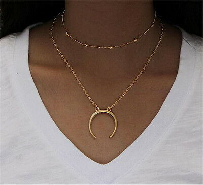 Simple Double Layers Chain Moon Pendant Necklace Choker Women Jewelry