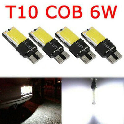 4pcs T10 W5W 194 168 White LED 6W No Error COB Canbus Side Lamp Wedge Light Bulb
