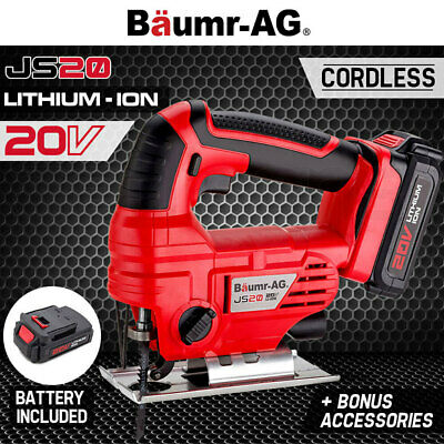 Baumr-AG 20V Lithium Cordless Jigsaw Electric Contour Cutting Tool Jig Saw Blade