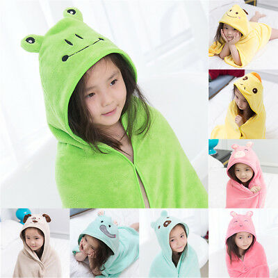 Cute Baby Kids Cartoon Hooded Blanket Bathrobe Bath Terry Towel Wrap Washcloth