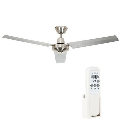Large Chrome 3 Blade Propeller Style Remote Control Ceiling Fan - Without Light