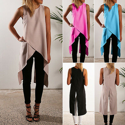Womens Irregular Hem Tunic Dress Shirt Summer Casual Sleeveless Top Vest Blouse