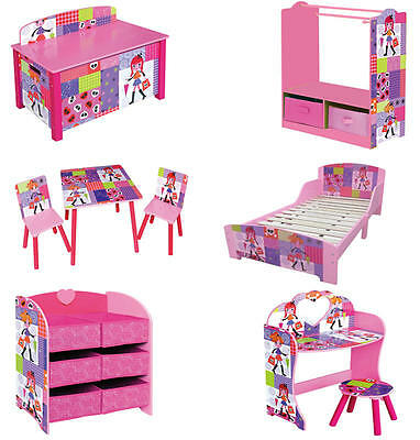 Kids Girls Toy Storage Box Bed Clothes Rail Dressing Table Chair Furniture Set