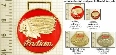 Indian motorcycle decorative fobs, various designs & keychain options