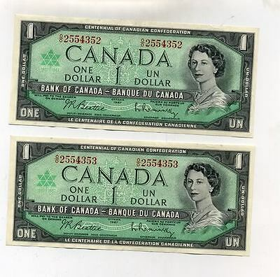 1967 $1 Bank Of Canada Lot Of 2 Consecutive Cu