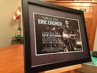 "Framed Eric Church ""live In Greenville Sc 5/6/17 Sold Out!"" Tour Lp Cd Promo Ad"