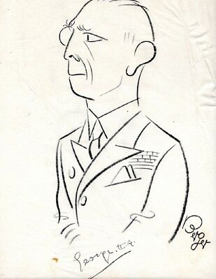 King George II of Greece, hand signed,  autographed Oscar Berger caricature