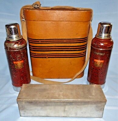 Vtg Stanley SUPER VAC Dual Thermos Picnic Travel Case Set w Sandwich Box Antique