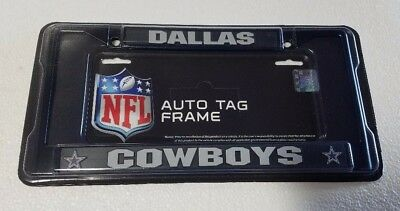 Dallas Cowboys Chrome Metal License Plate Frame - Auto Tag Holder NEW Black