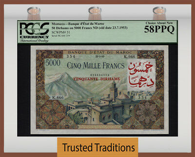 Tt Pk 51 1953 Morocco 50 Dirhams On 5000 Francs Pcgs 58 Ppq Choice About New!!!!