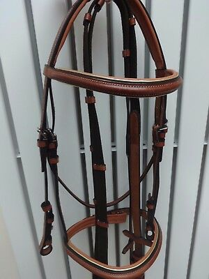 Lovely Leather Padded Silver And Gold Line Comfort Snaffle Bridle Black Or Tan