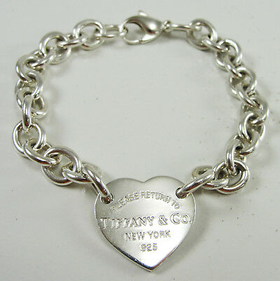 "Tiffany & Co Sterling Heart Tag Charm Bracelet 7.5"" Return to Tiffany Collection"