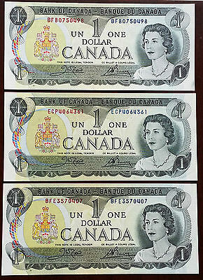 Lot Of 3 Bank Of Canada 1973 One Dollar $1 Notes ***crisp Uncirculated***