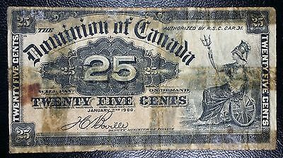 1900 Dominion of Canada 25 Cents Shinplaster Bank Note - Boville P-8