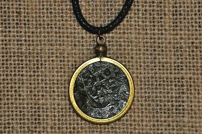Authentic Spanish Colonial Pirate Shipwreck Copper Cob Coin Waxed Cord Necklace