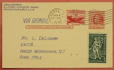 1958 Uprated Postal Card Laurel Maryland Md To Italy