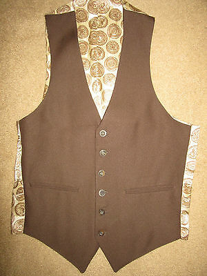 MENS  Victorian Edwardian Sherlock Holmes Dickens brown poly  VEST size S 36