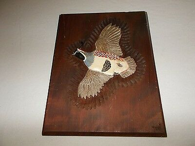 Beautiful hand carved desert Gambel's Quail flying wooden 12 X 9 1/4 wall plaque