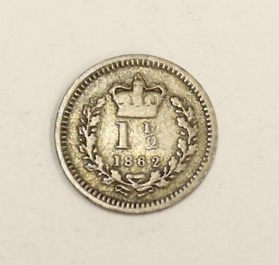 1862 Great Britain 1 1/2 pence or three half pence silver coin VG10
