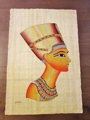 "XXL-Signed Handmade Papyrus Egyptian Queen Nefertiti Painting...38"" x 26"" Inches"