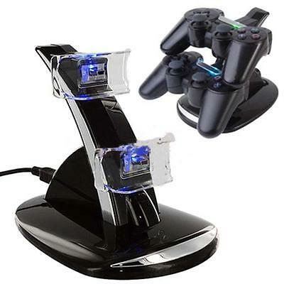 LED Dual Controller Charger Dock Station Stand Charging For Playstation 3 PS3 T: