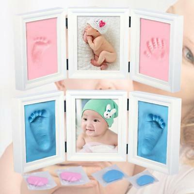 New Baby Christening Gift Photo Frame Foot or Hand Print Cast Set Clay Inkpad