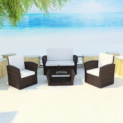 10PC Wicker Rattan Outdoor Cafe Lounge Furniture Garden Sofa Setting Brown