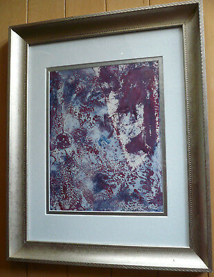 M. SIMON, Mystery Abstraction EXPRESSIONIST ABSTRACT Blue Purple Mid Century Mod