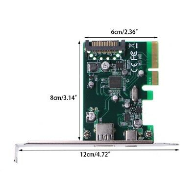 5V 2A PCI Express To Dual Port USB 3.1 (Type A + Type C) Converter Card Adapter