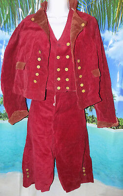 Antique RARE 18th Century BOY/Young Man Corduroy Nautical Pirate 3pc Suit/Outfit