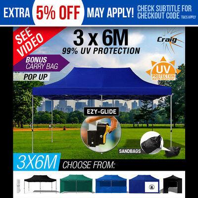 3x6m Outdoor Gazebo Pop Up Marquee Tent Shade Folding CRAIG Ezy-Glide Party