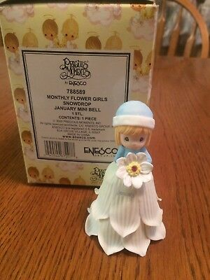 """Precious Moments Monthly Flower Girls """"Snowdrop"""" January Mini Bell 788589"""