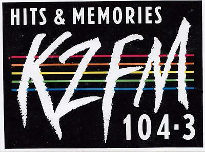 Hits & Memories KZFM 104.3 sticker from the 1980's 12cm x 9cm