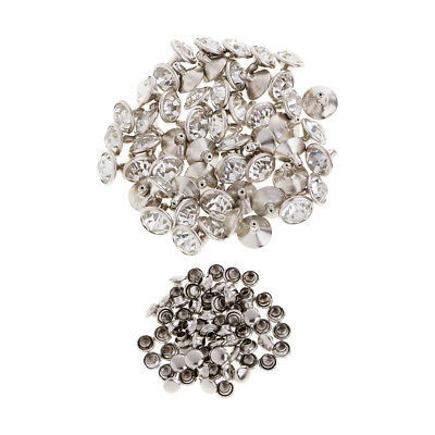 50x Crystal Rivets Studs Buttons for Bracelet Bag Leather Craft 10mm Silver