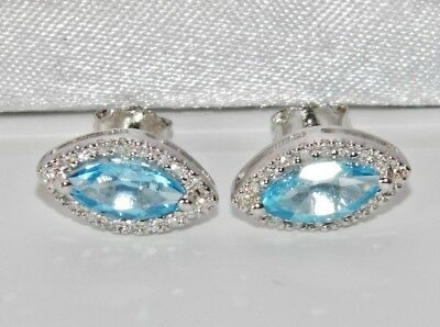 9ct White Gold Blue Topaz & Diamond Ladies Cluster Earrings - Stunning Quality