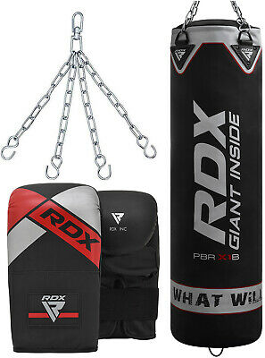 RDX 5ft Filled Punch Bag With Kick Boxing Gloves & Chains MMA Training Black