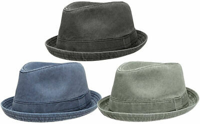 28ad60008fad7 Men s Distressed Washed Cotton Fedora Hat w  Pattern Lining