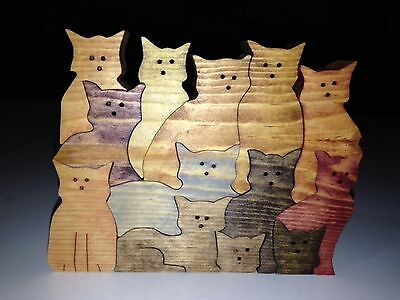 Wooden Stack of CATS Puzzle - Handmade - 13 Pieces - Stained In Various Colors