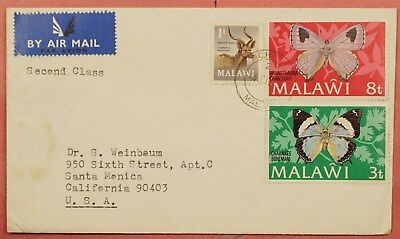 1973 Malawi Butterfly Franked Airmail Cover To Usa