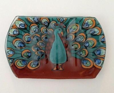 Peacock Soap Dish Bird Fused Art Glass Ecuador WFTO Fair Trade
